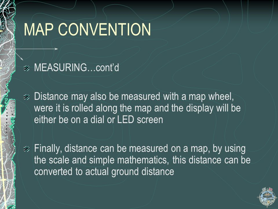 MAP CONVENTION MEASURING…cont'd