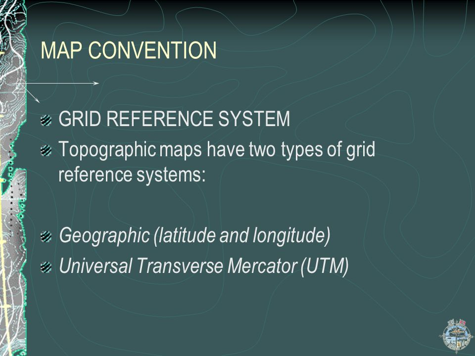 MAP CONVENTION GRID REFERENCE SYSTEM