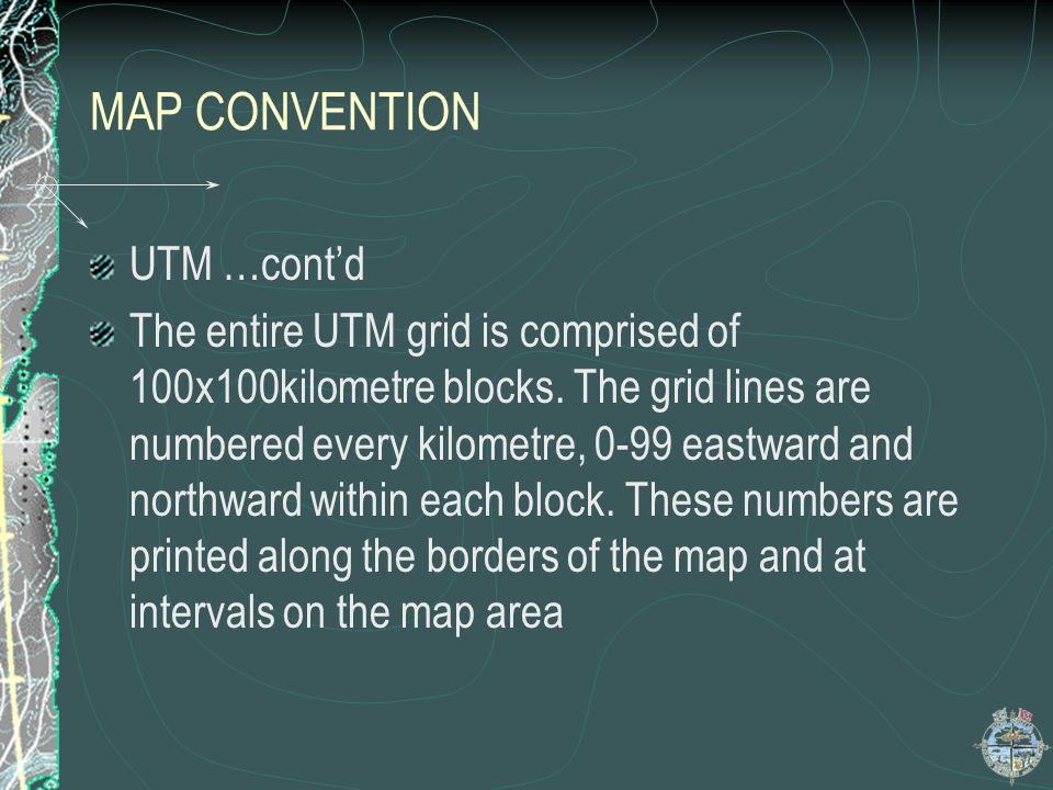 MAP CONVENTION UTM …cont'd