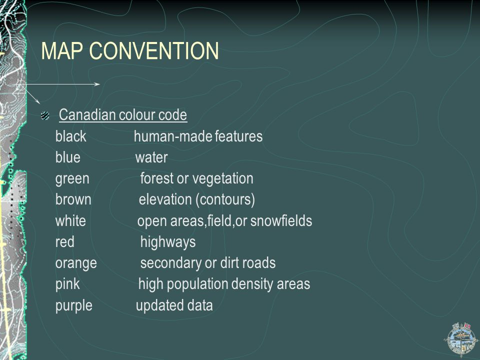 MAP CONVENTION Canadian colour code black human-made features