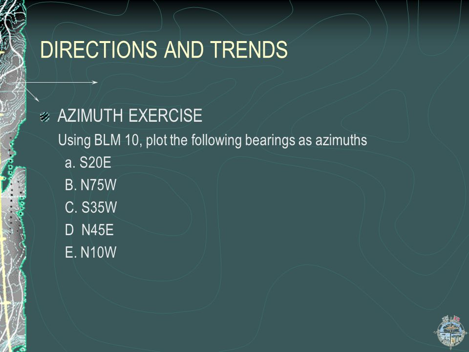 DIRECTIONS AND TRENDS AZIMUTH EXERCISE