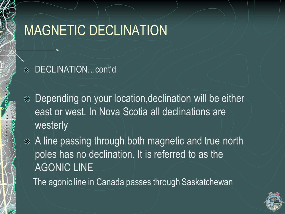 MAGNETIC DECLINATION DECLINATION…cont'd.