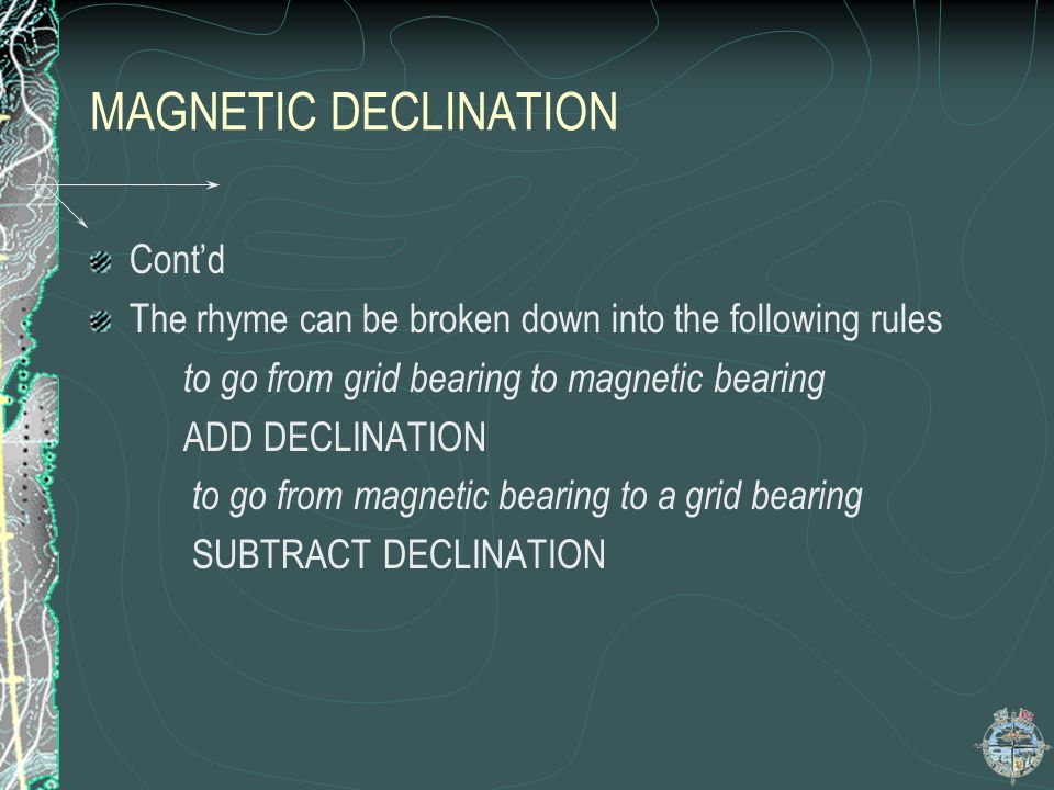 MAGNETIC DECLINATION Cont'd
