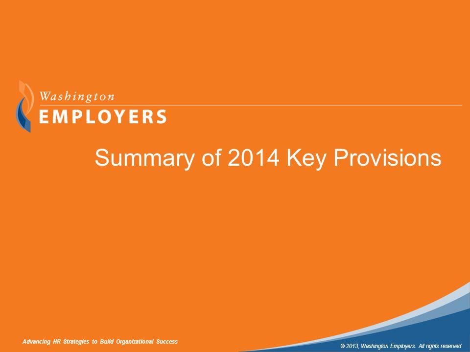 Summary of 2014 Key Provisions