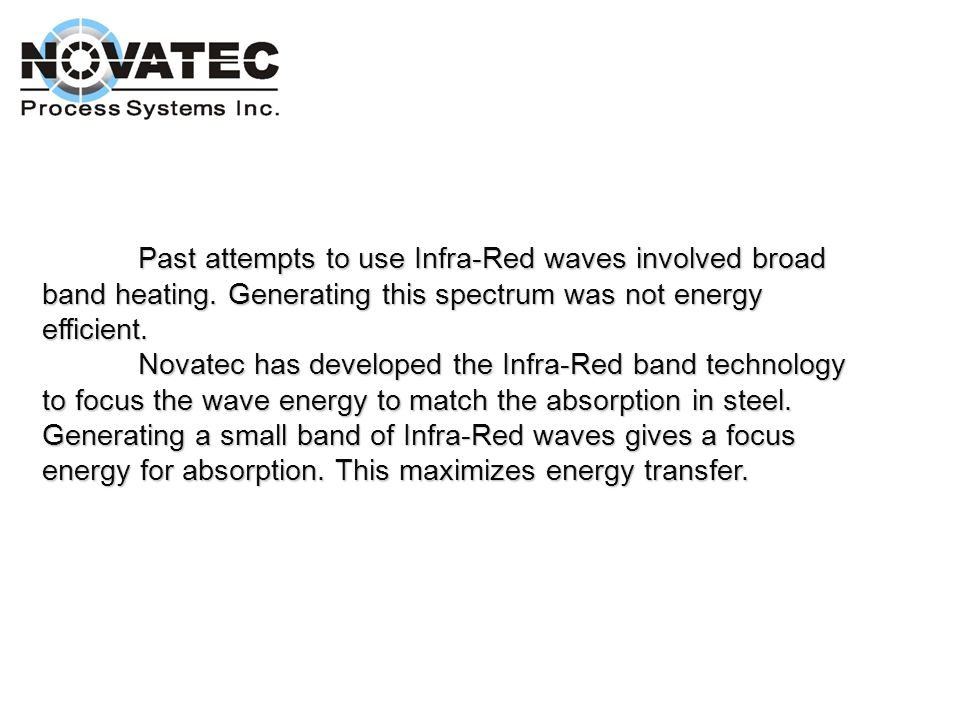 Past attempts to use Infra-Red waves involved broad band heating