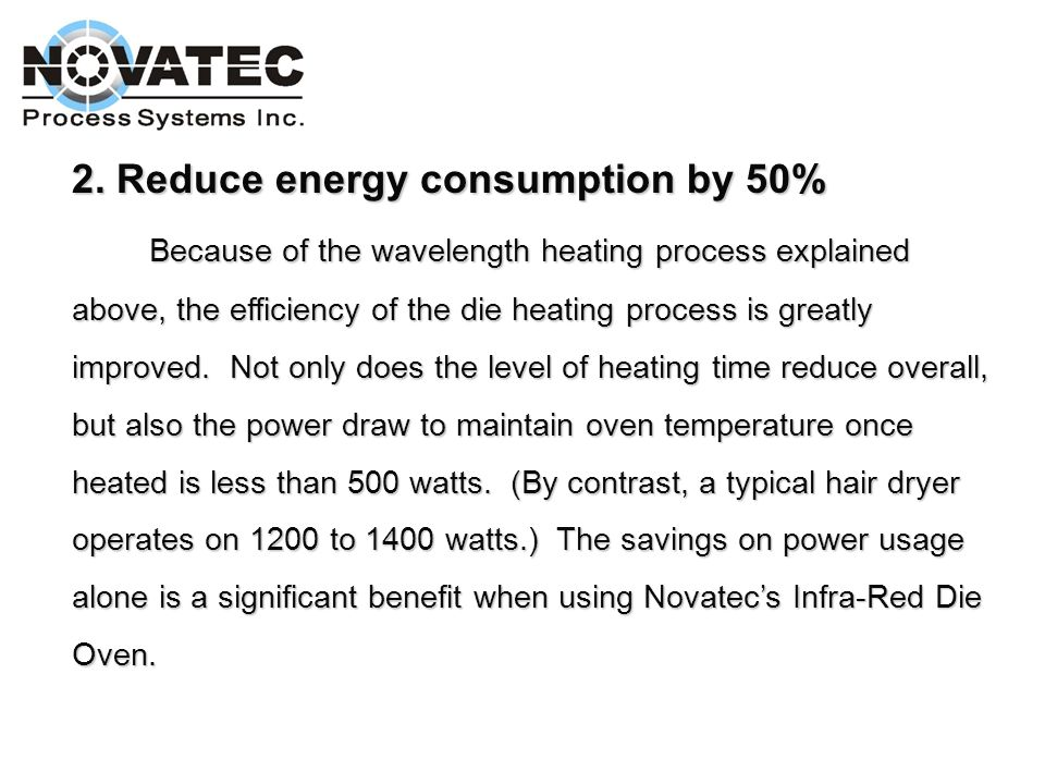 2. Reduce energy consumption by 50%