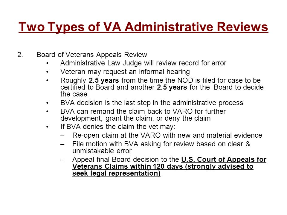 Two Types of VA Administrative Reviews
