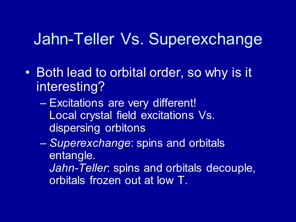 Jahn-Teller Vs. Superexchange