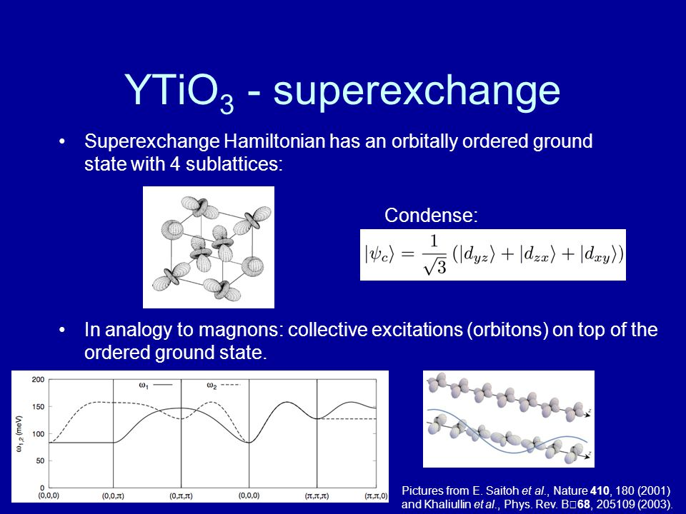YTiO3 - superexchange Superexchange Hamiltonian has an orbitally ordered ground state with 4 sublattices: