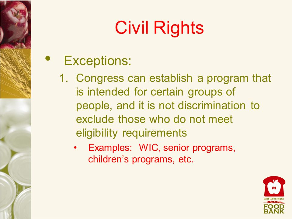 Civil Rights Exceptions: