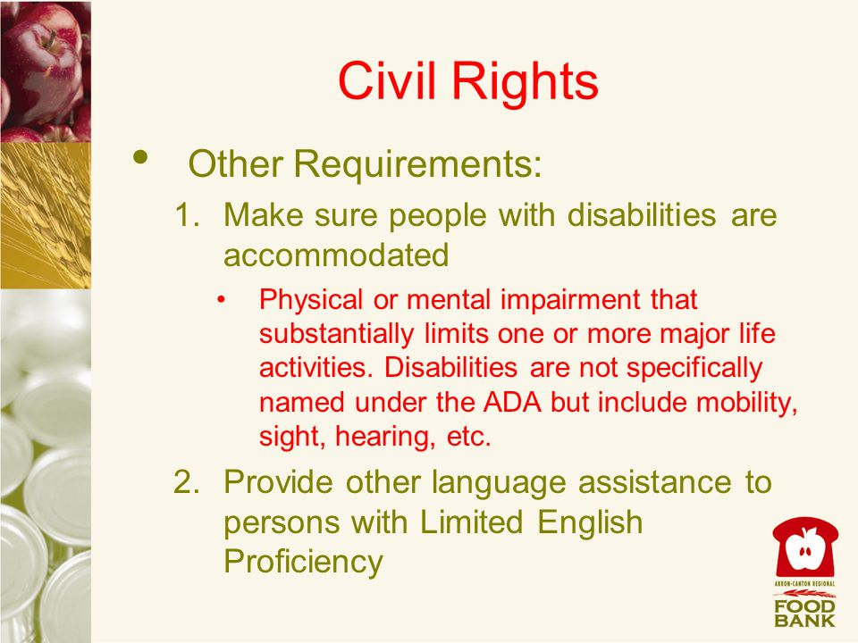 Civil Rights Other Requirements: