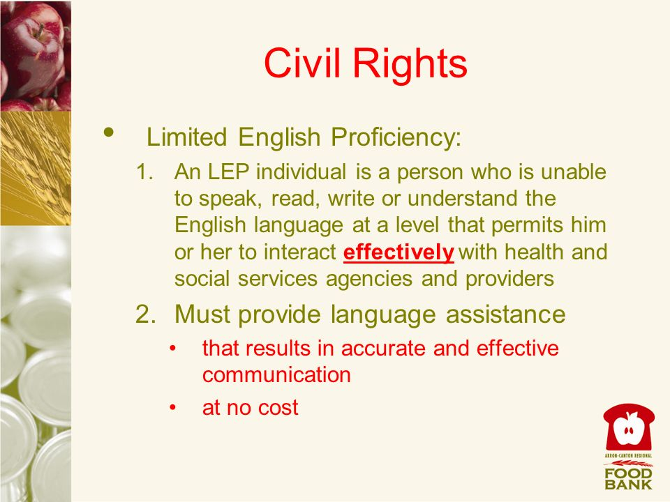 Civil Rights Limited English Proficiency: