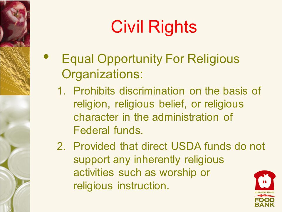 Civil Rights Equal Opportunity For Religious Organizations: