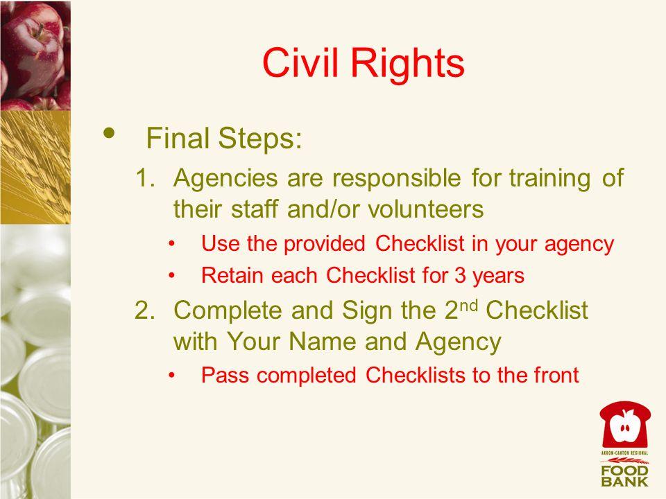 Civil Rights Final Steps: