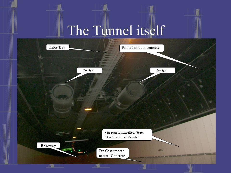 The Tunnel itself Cable Tray Painted smooth concrete Jet fan