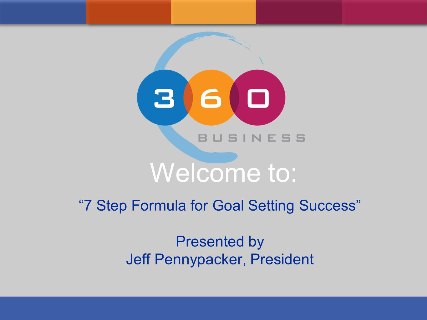 Welcome to: 7 Step Formula for Goal Setting Success Presented by