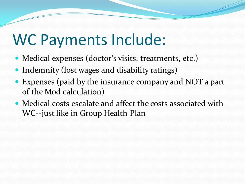 WC Payments Include: Medical expenses (doctor's visits, treatments, etc.) Indemnity (lost wages and disability ratings)