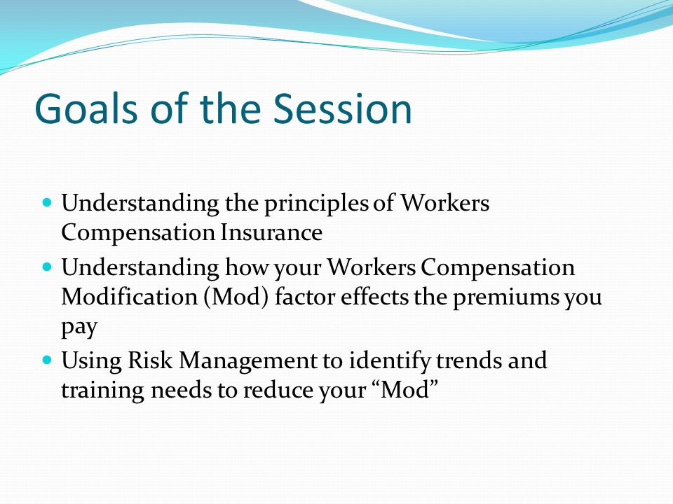 Goals of the Session Understanding the principles of Workers Compensation Insurance.