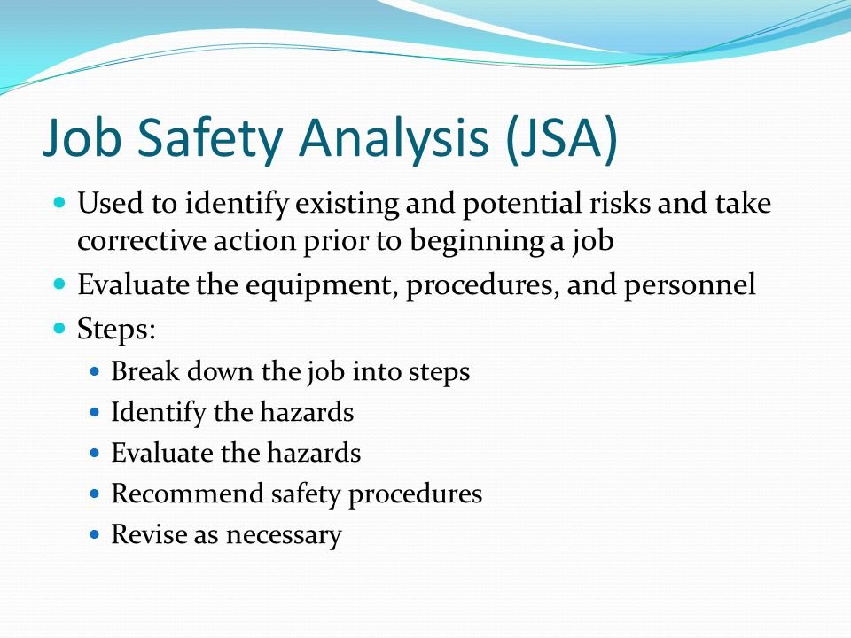 job saftey analysis Nationwide's job safety analysis helps minimize employee harm and prevents declines in productivity find out more about this members-only service.