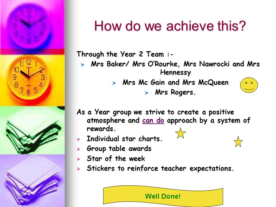 How do we achieve this Through the Year 2 Team :-