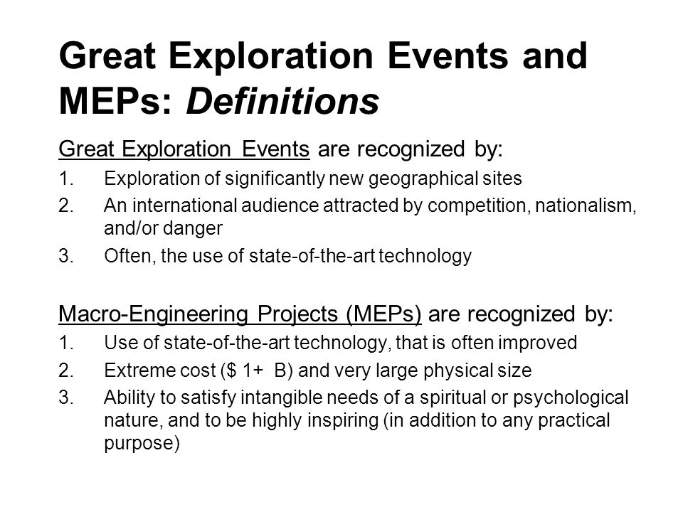 Great Exploration Events and MEPs: Definitions