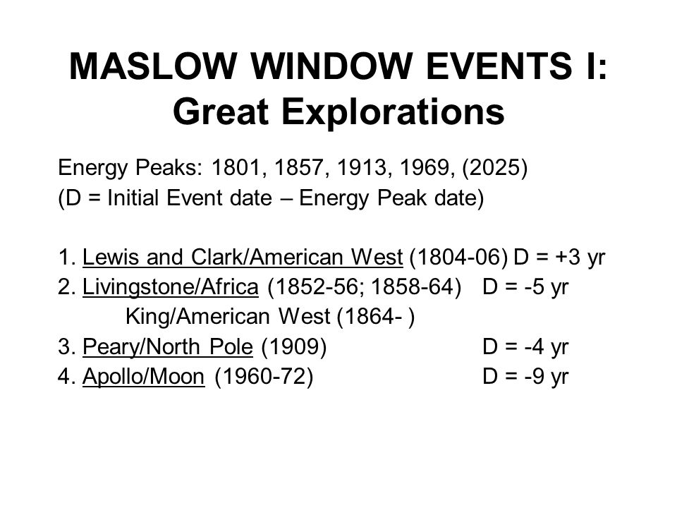 MASLOW WINDOW EVENTS I: Great Explorations