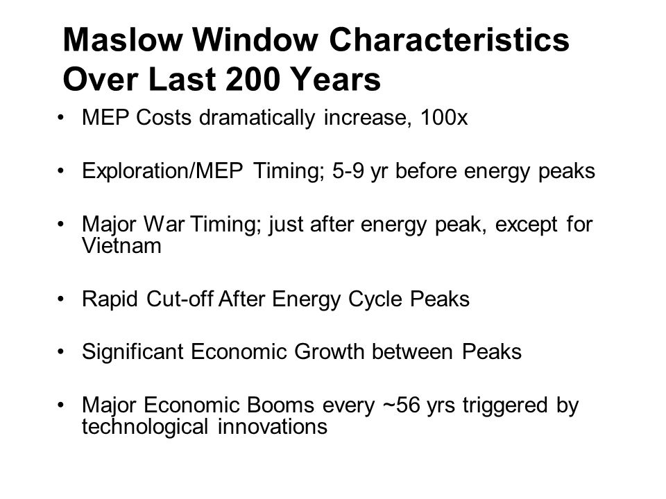 Maslow Window Characteristics Over Last 200 Years