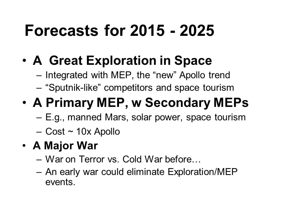 Forecasts for 2015 - 2025 A Great Exploration in Space