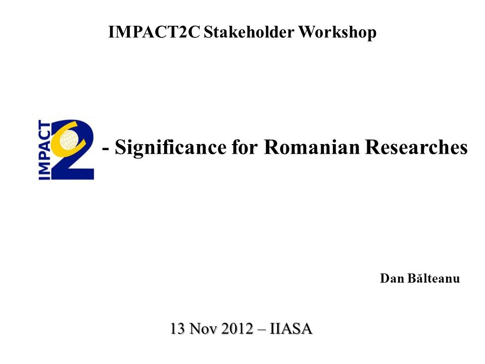 IMPACT2C Stakeholder Workshop