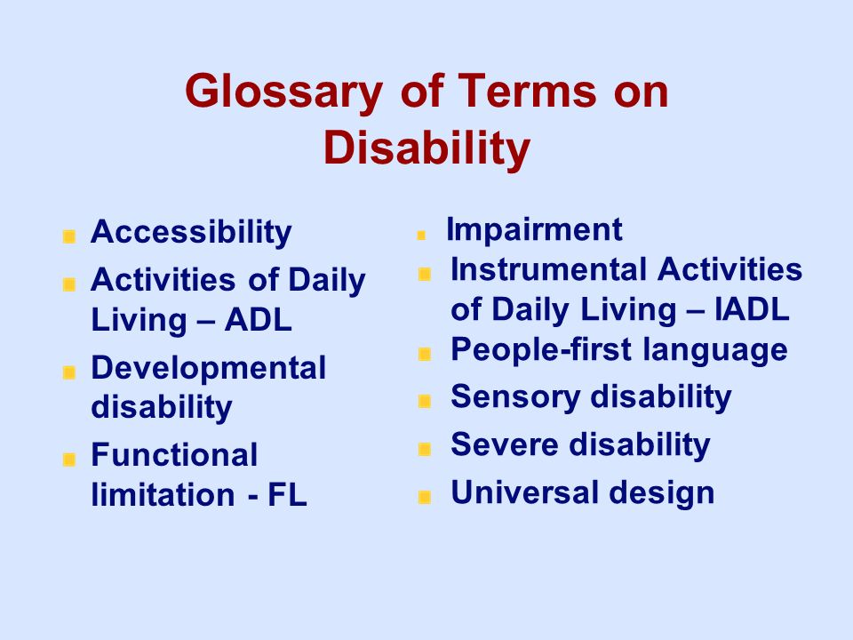 Glossary of Terms on Disability