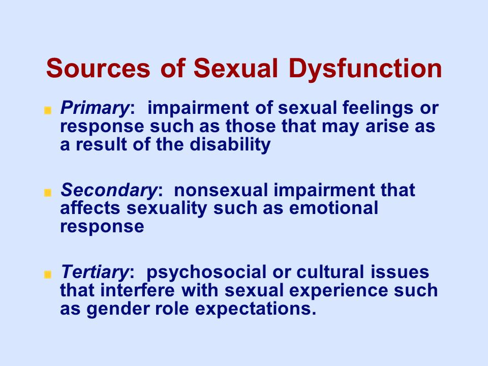 Sources of Sexual Dysfunction