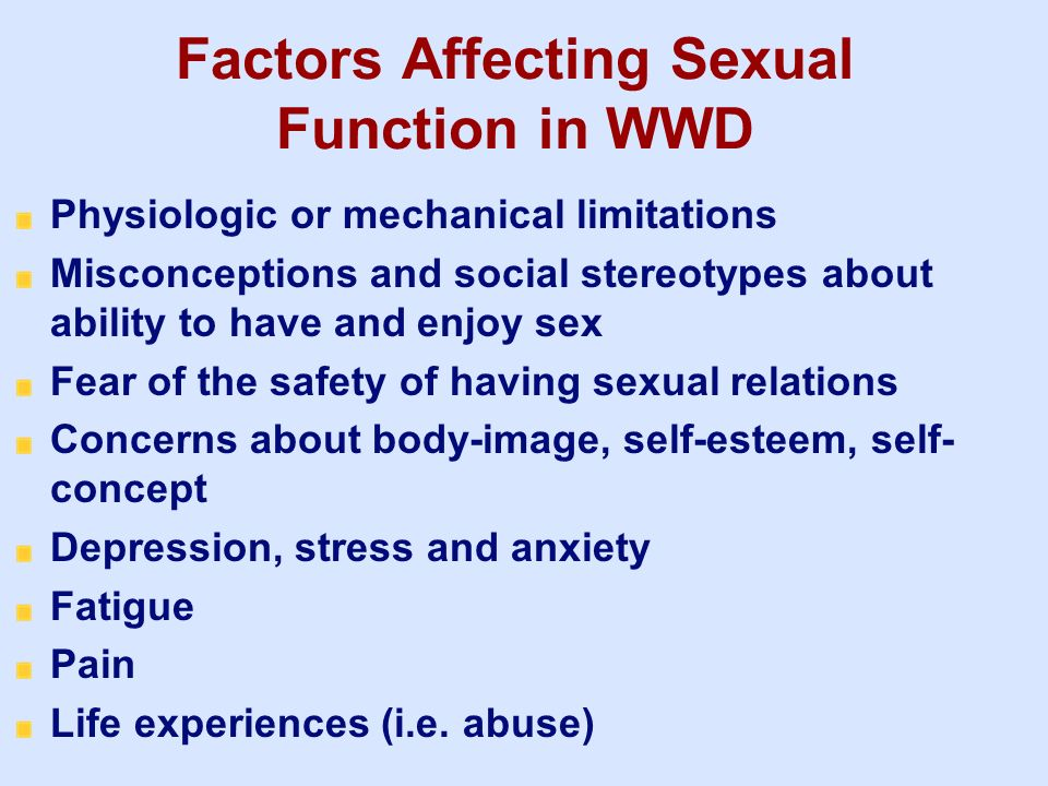 Factors Affecting Sexual Function in WWD