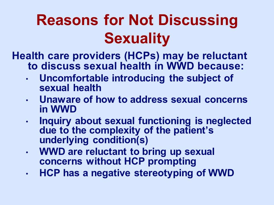 Reasons for Not Discussing Sexuality