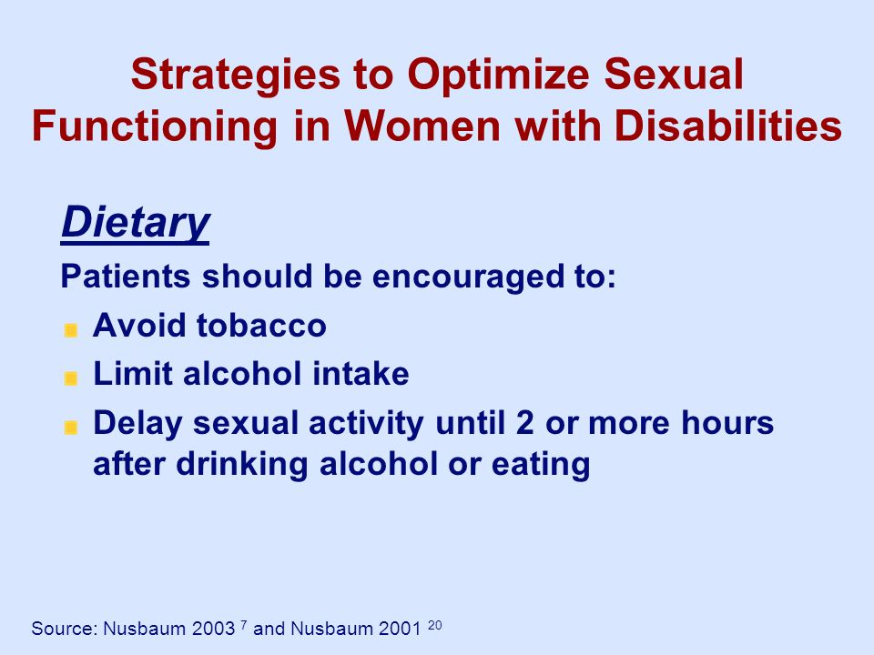 Strategies to Optimize Sexual Functioning in Women with Disabilities