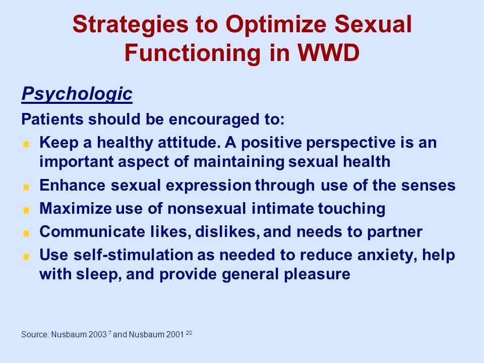 Strategies to Optimize Sexual Functioning in WWD