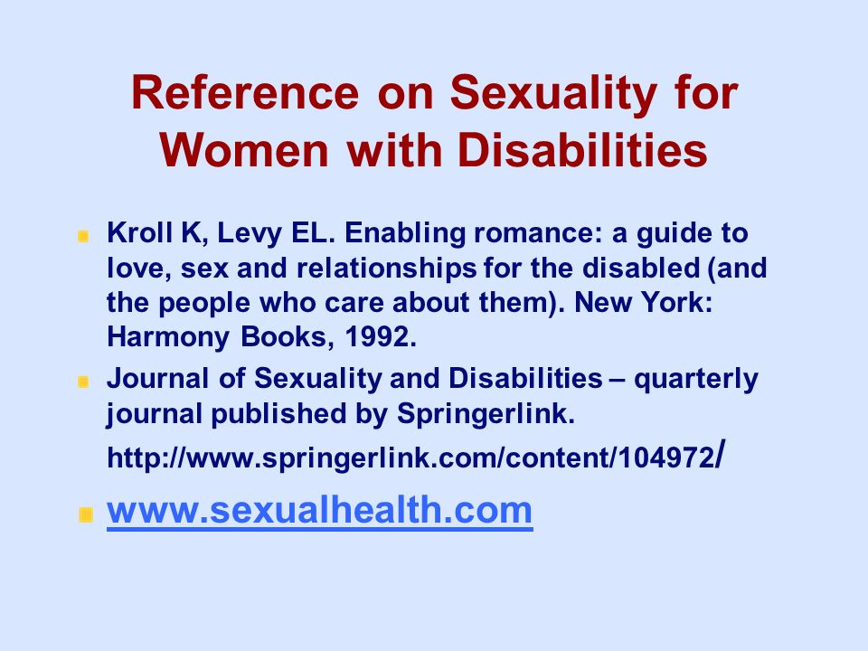 Reference on Sexuality for Women with Disabilities