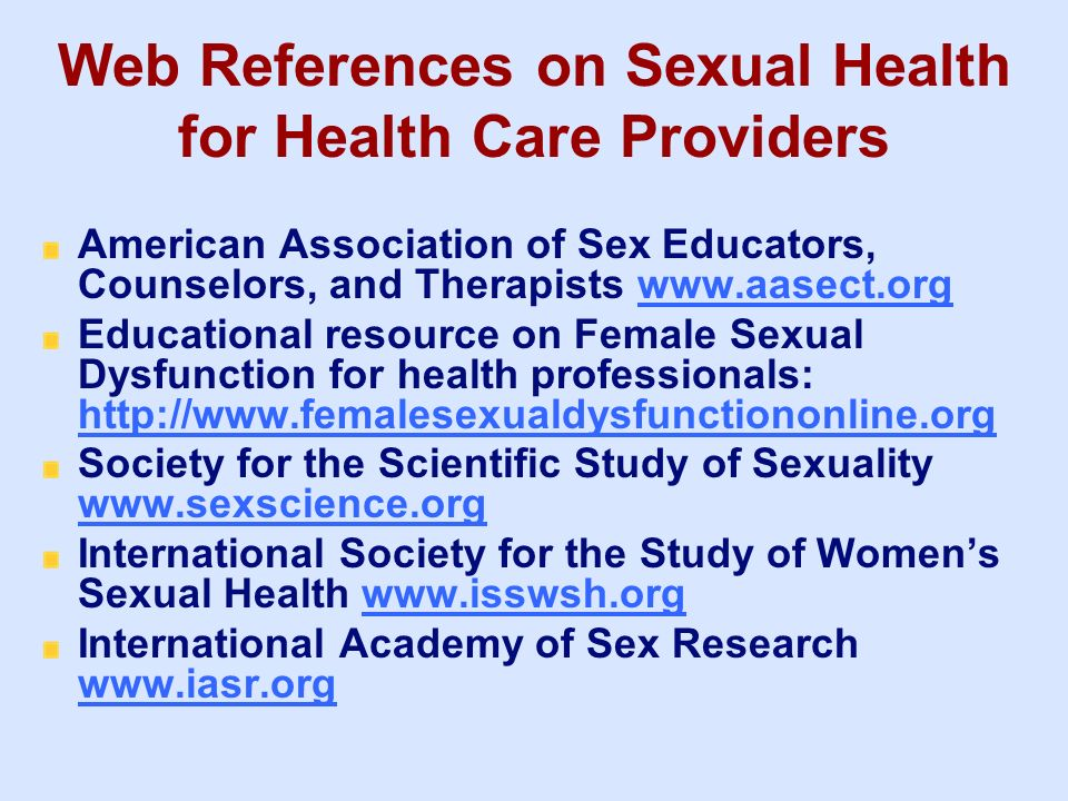 Web References on Sexual Health for Health Care Providers