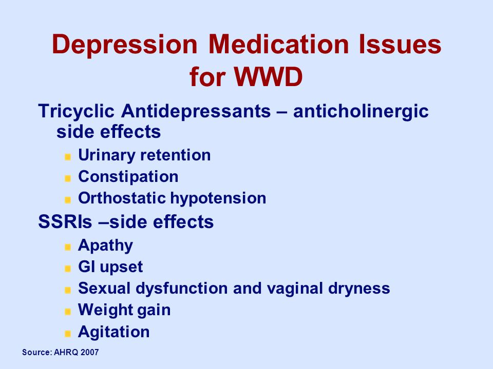 Depression Medication Issues for WWD
