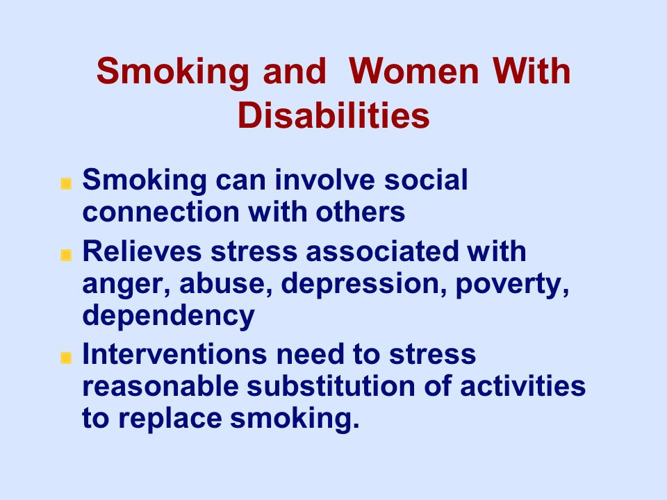 Smoking and Women With Disabilities