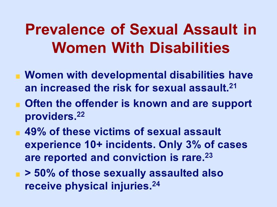 Prevalence of Sexual Assault in Women With Disabilities