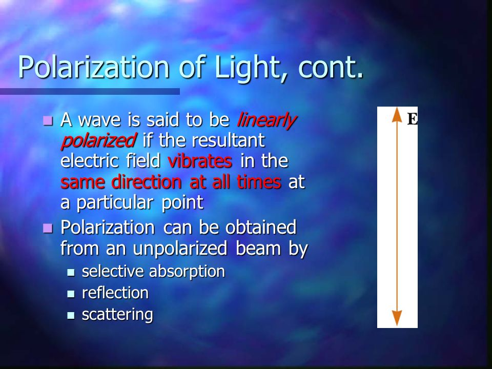 Polarization of Light, cont.
