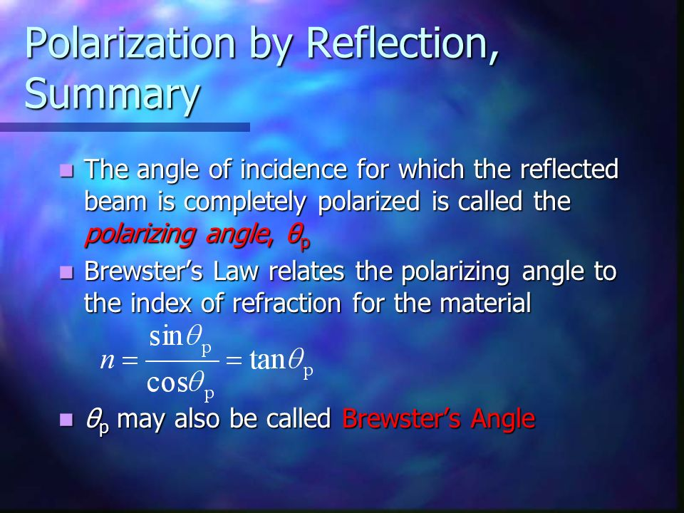 Polarization by Reflection, Summary