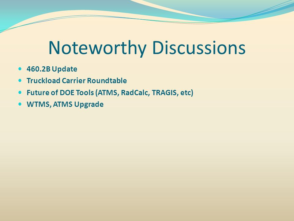 Noteworthy Discussions