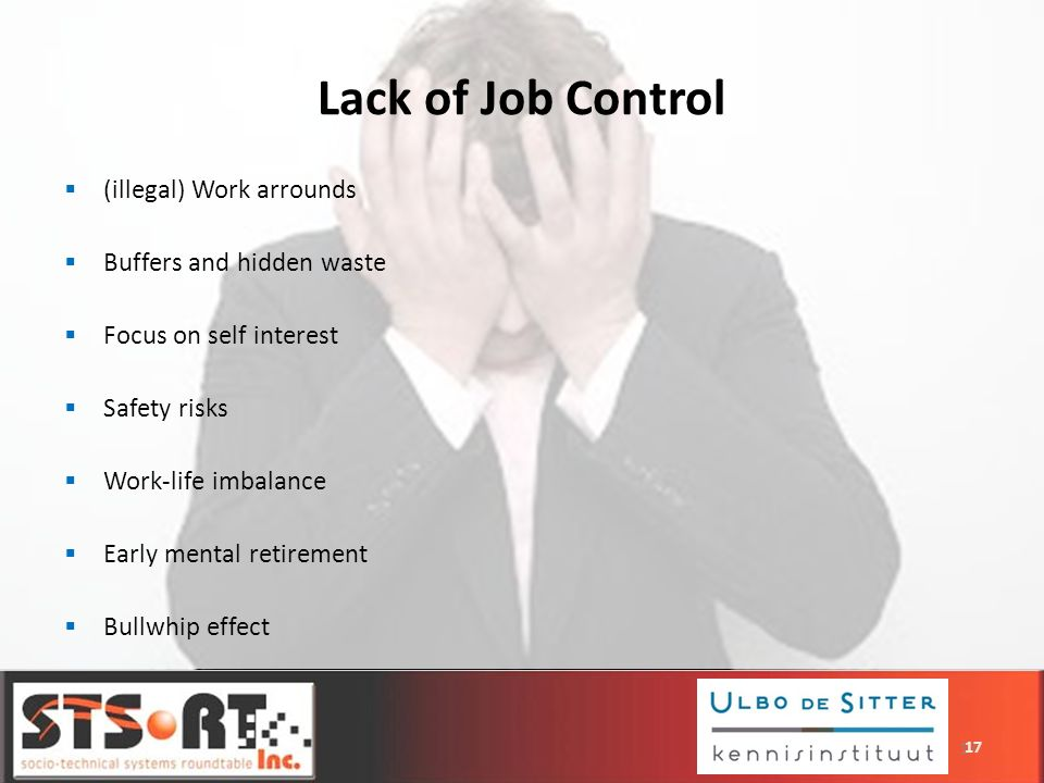 Lack of Job Control (illegal) Work arrounds Buffers and hidden waste