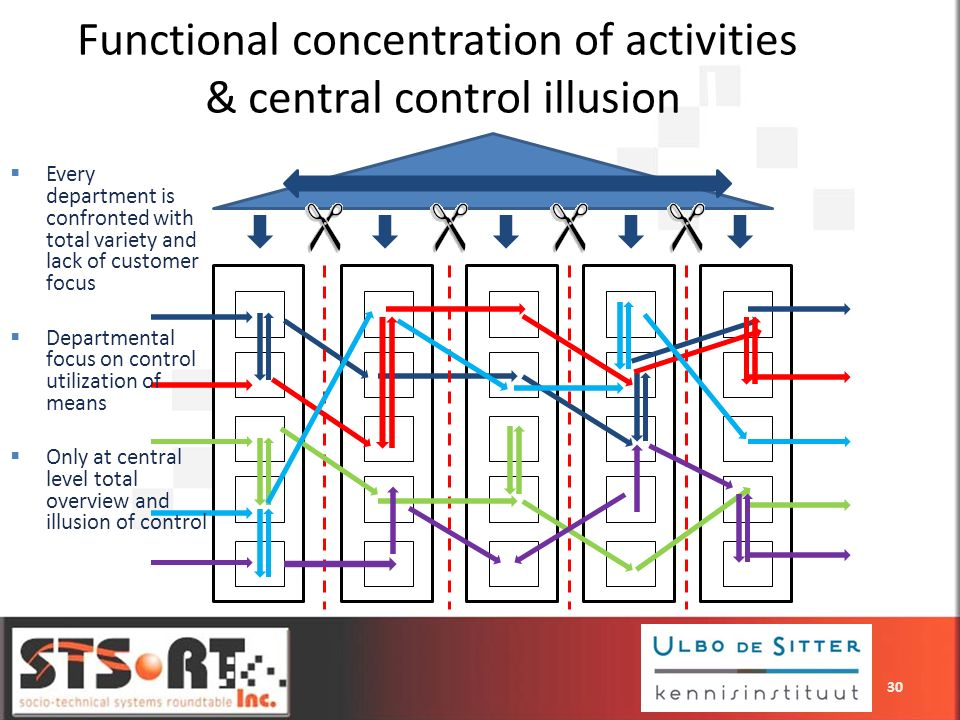 Functional concentration of activities & central control illusion