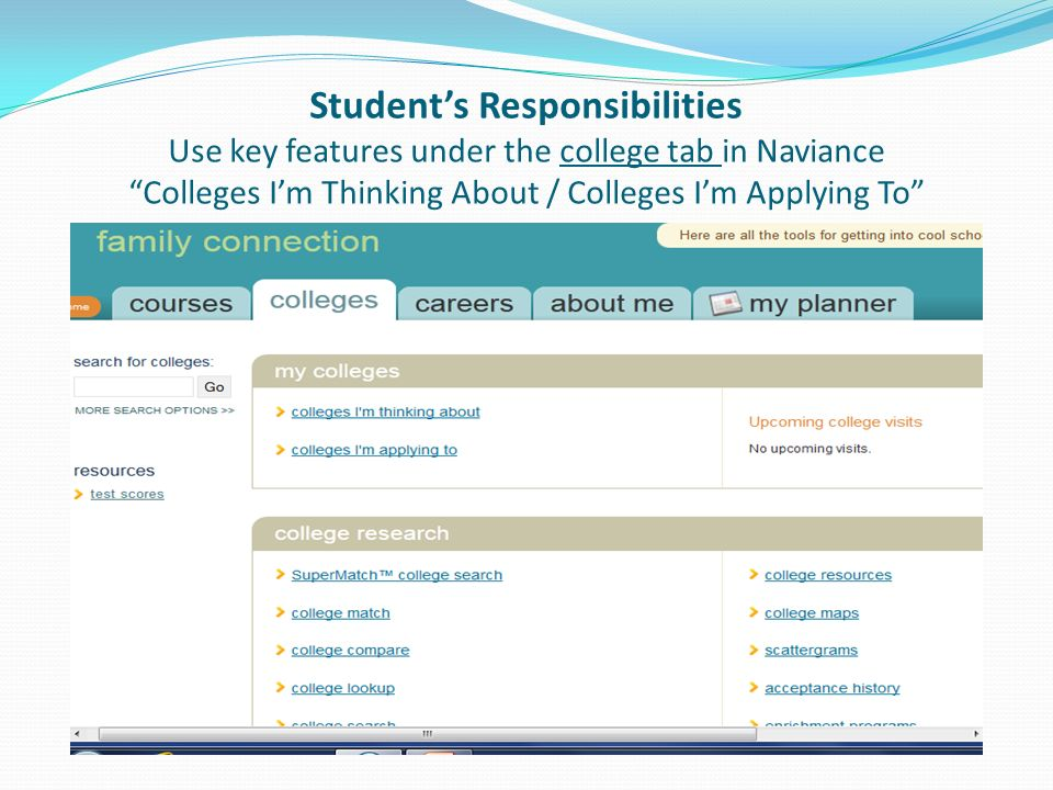 Student's Responsibilities Use key features under the college tab in Naviance Colleges I'm Thinking About / Colleges I'm Applying To