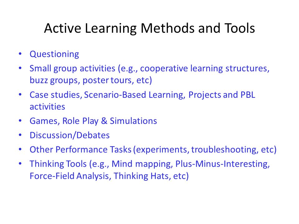 Active Learning Methods and Tools