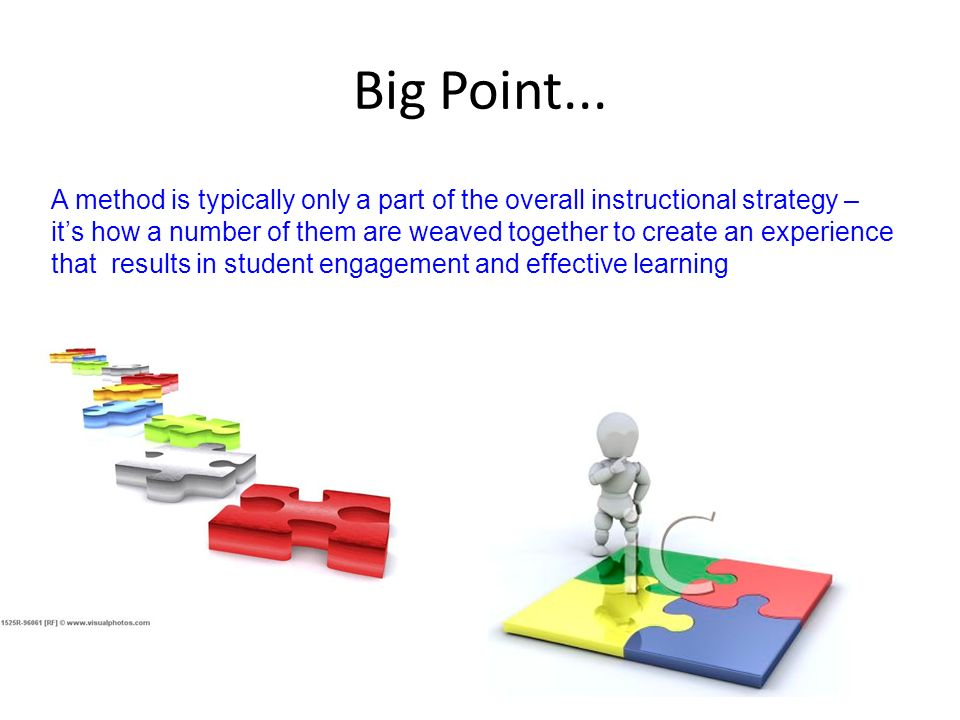 Big Point...A method is typically only a part of the overall instructional strategy –