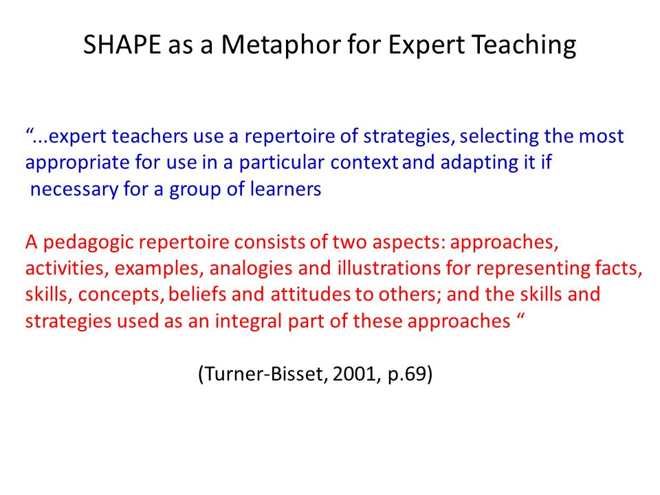 SHAPE as a Metaphor for Expert Teaching