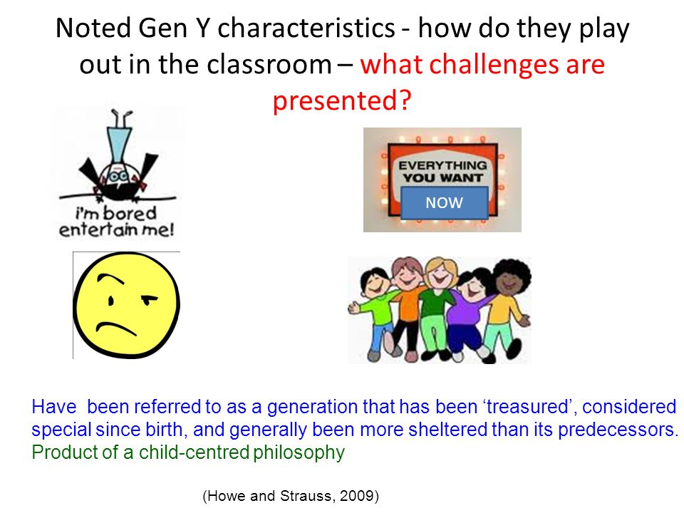 Noted Gen Y characteristics - how do they play out in the classroom – what challenges are presented
